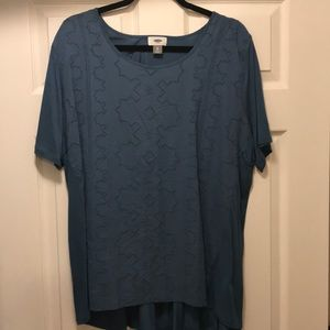 blue top with eyelet detail